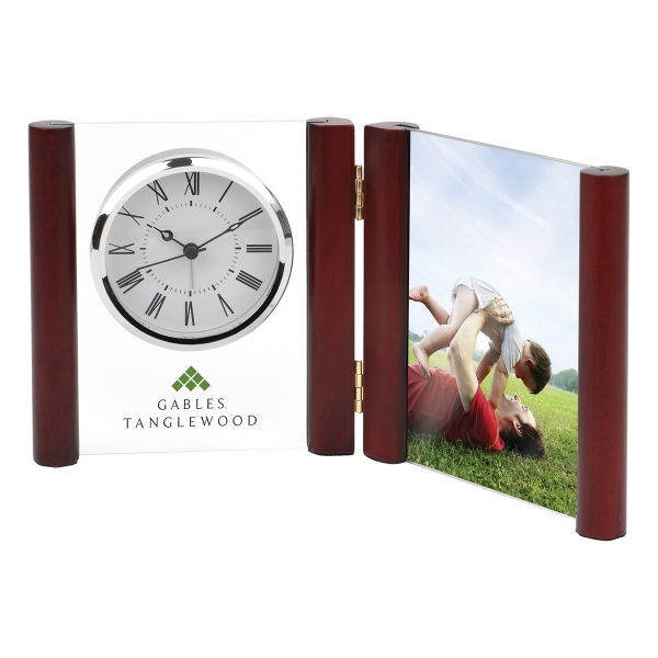 Promotional Glass Desk Alarm Book Clock Photo Frame