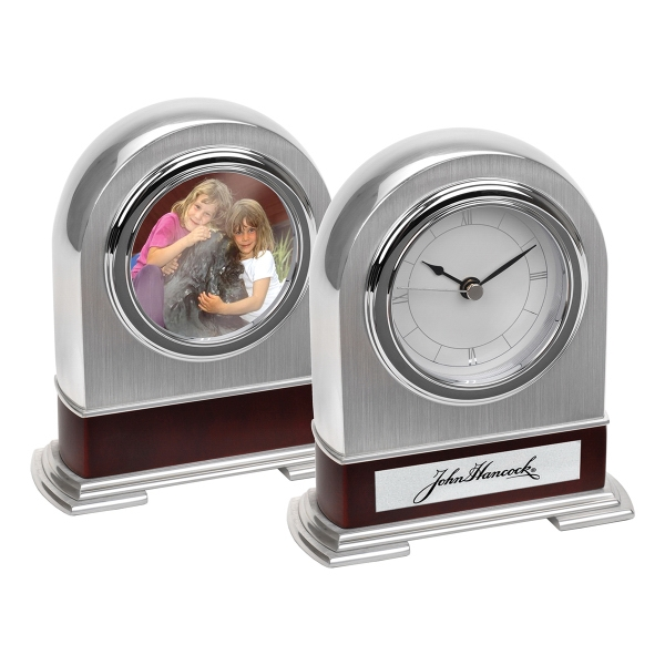 Printed Silver Arched Mantel Clock