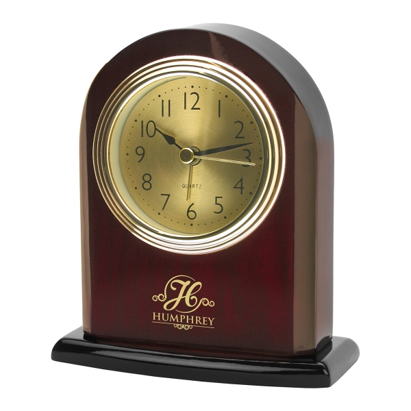 Imprinted Arched Rosewood Desk Alarm Clock