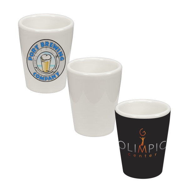 Imprinted 1.5 oz Ceramic Shot Glass