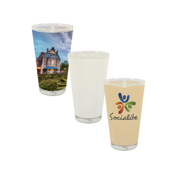 Promotional 17 oz Pint Glass w/ White Imprint Patch