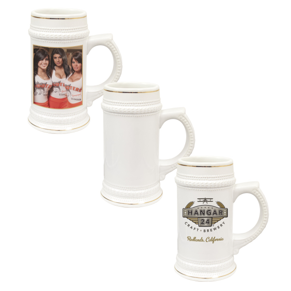 Imprinted 22 oz Beer Stein with Gold Trim (White)