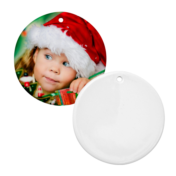 "Personalized 3"" Round Christmas Ornament w/ Hole"