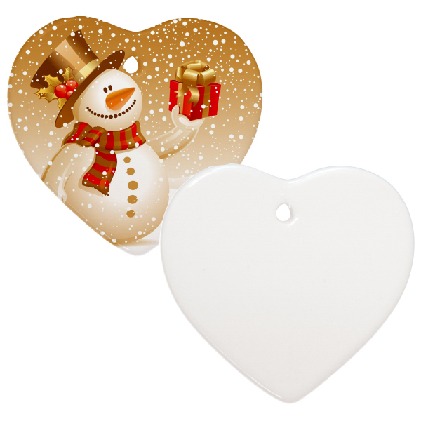 "Personalized 3"" Heart Christmas Ornament w/Hole"