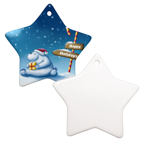 "Personalized 3"" Star Christmas Ornament w/ Hole"