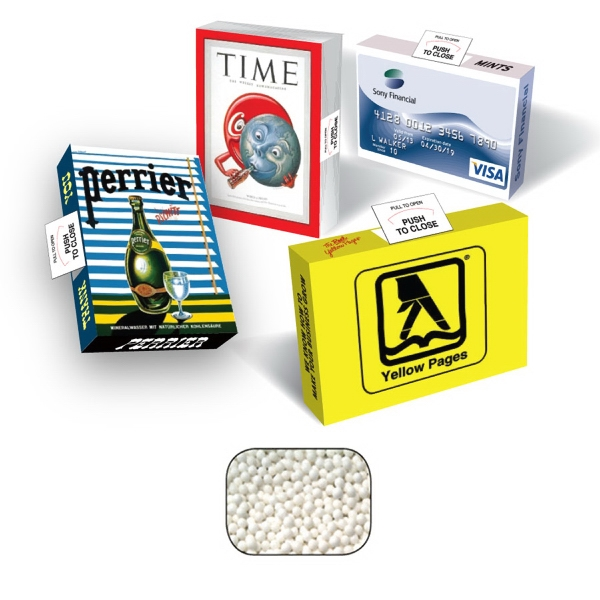 Imprinted Advertising Mints box with signature peppermints