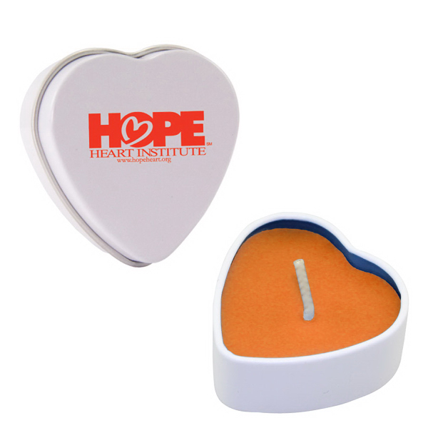 Promotional Heart Tin Soy Candle (Mango and Papaya)