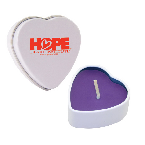 Customized Heart Tin Soy Candle (Lilac)
