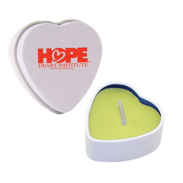 Imprinted Heart Tin Soy Candle (Lemon Chiffon) -  Eco friendly