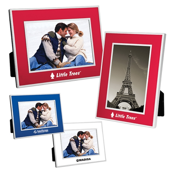 "Promotional 4"" x 6"" Chrome border picture frame"