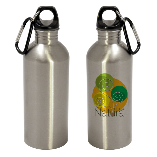 Promotional 600ml Stainless Steel Bottle - Flat Bottom - Silver