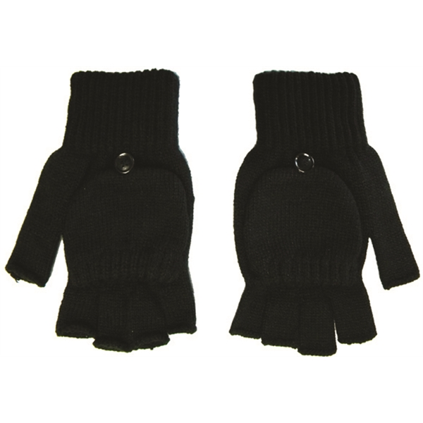 Imprinted Fingerless gloves with flap