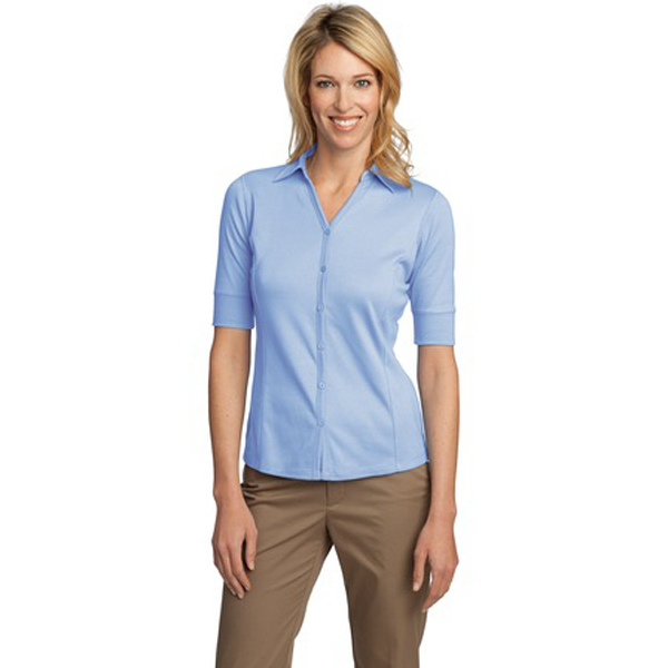 Promotional Ladies' Silk Touch (TM) Interlock Button Front Sport Shirt