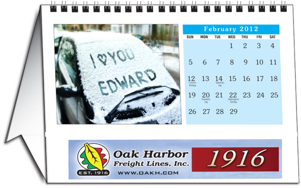 Imprinted Personalized desk calendar