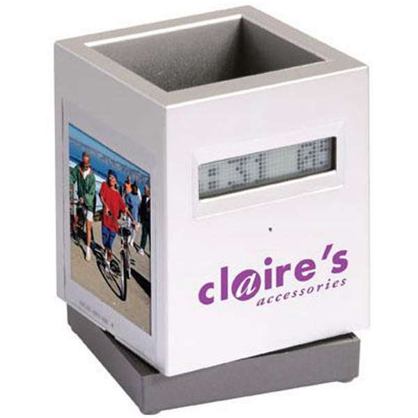 Custom Scrolling message photo frame/pen holder with alarm clock