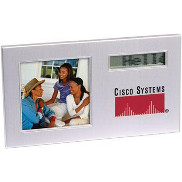 Printed Scrolling message photo frame with alarm clock