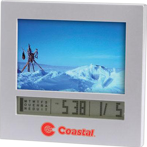 Imprinted Photo frame digital calendar alarm clock
