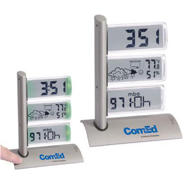 Imprinted Triple display weather station alarm clock