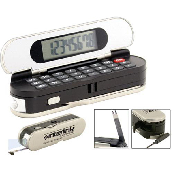 Promotional 8-function calculator multi-tool