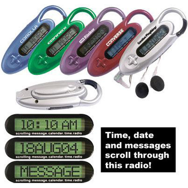Customized Scrolling message carabiner clock radio