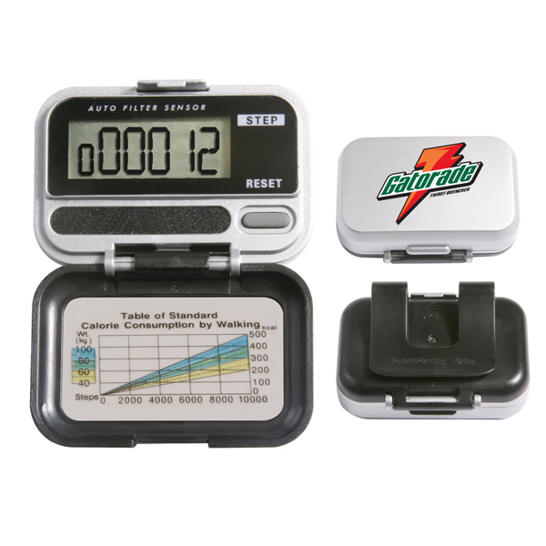 Promotional Single-function digital pedometer with 5-step random filter