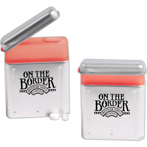 Promotional Pop top aluminum tin with .5 oz peppermints