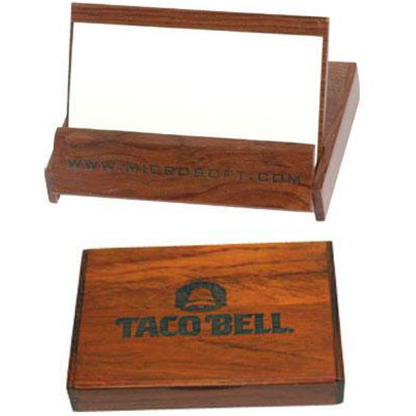 Custom Rosewood colored business card holder