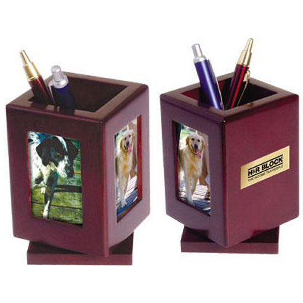 Customized Rosewood rotating tri-photo frame/pencil holder