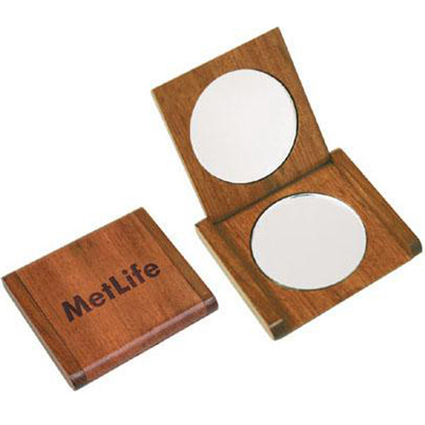 Personalized Solid rosewood double mirror compact