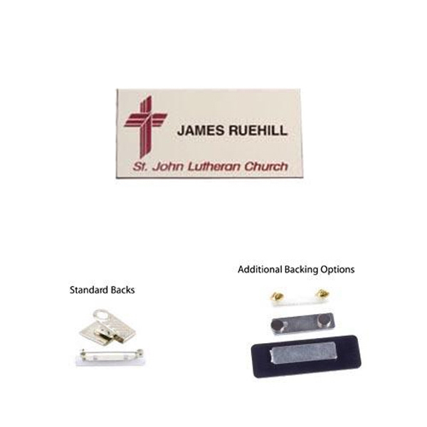 "Promotional 1 1/2"" x 3"" Laser engraved name badge"
