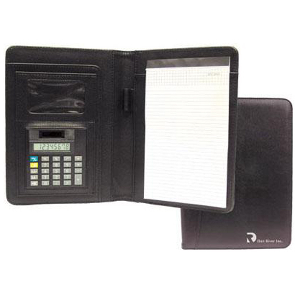 "Imprinted Junior size ""Nu-Leather"" portfolio with calculator"