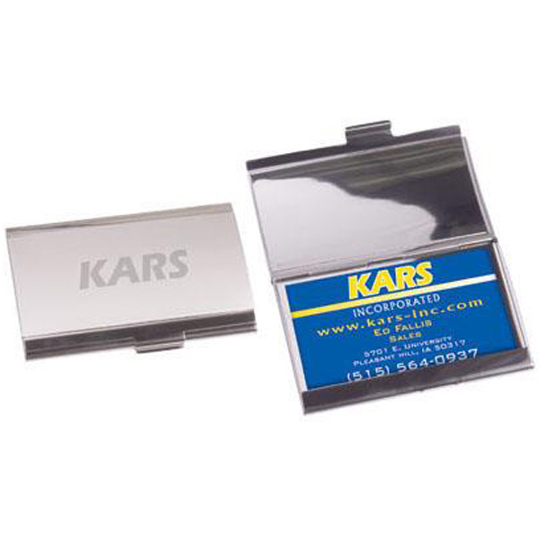 Promotional Horizontal business card holder-brushed/polished aluminum