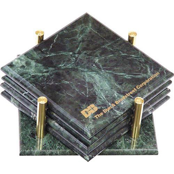Custom Set of 4 square marble coasters with stand