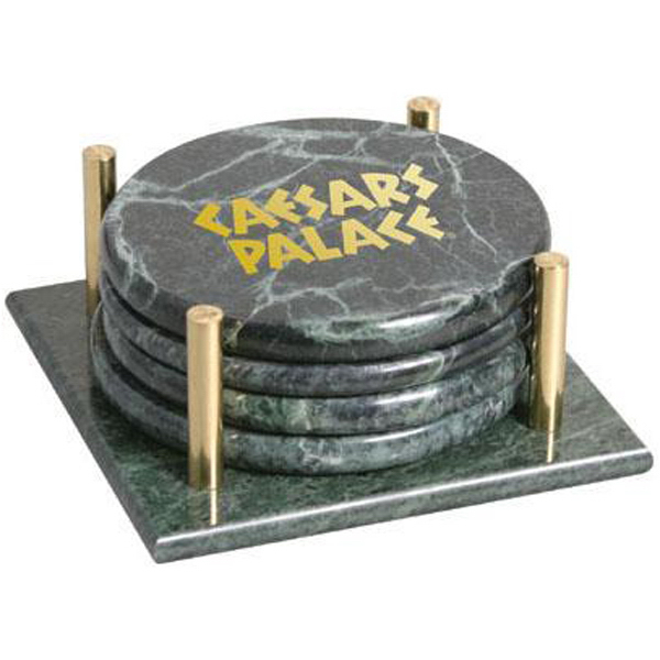Custom Set of 4 round marble coasters with stand