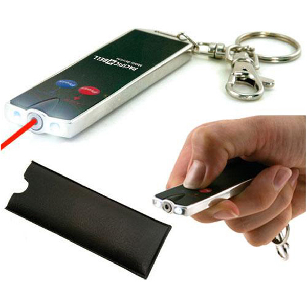 Promotional Flat laser card pointer with dual LED flashlight, keychain