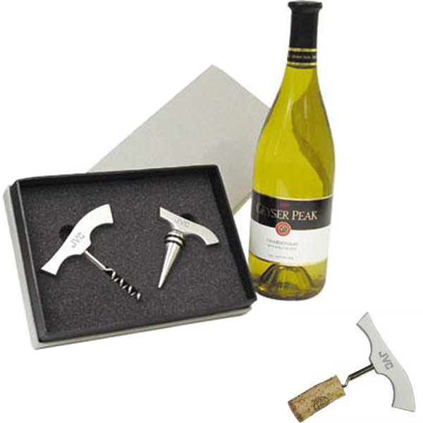 Customized Aluminum corkscrew and wine stopper gift set