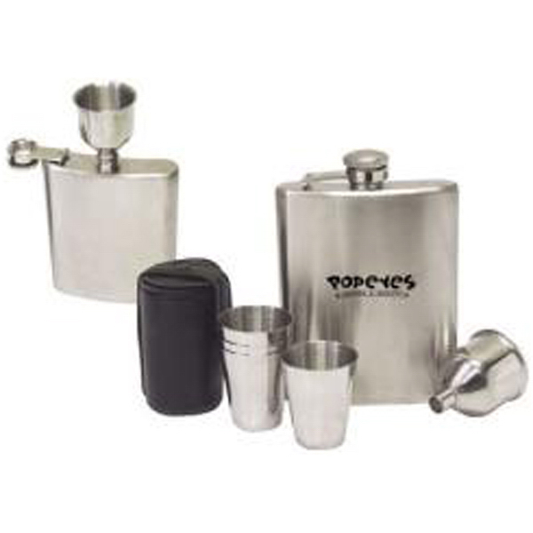 Personalized 7-piece stainless steel hip flask gift set