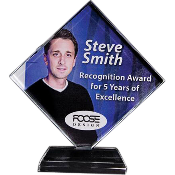 Custom Full-color lead crystal diamond award with base