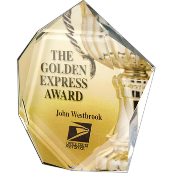 Personalized Full-color lead crystal small pentagon award