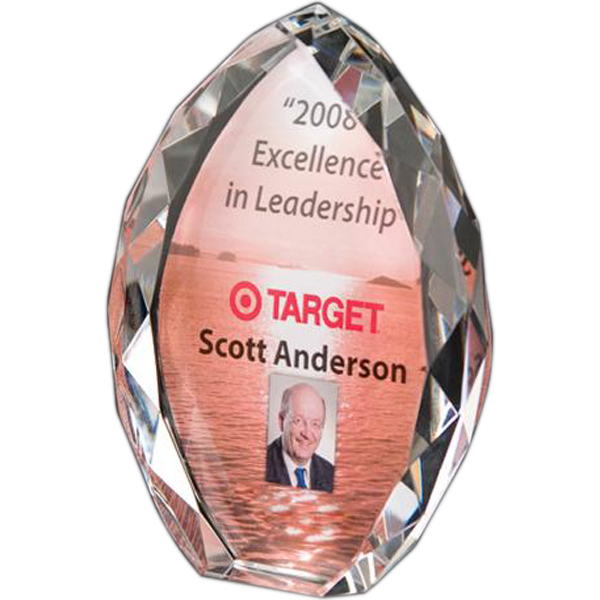 Custom Full-color lead crystal tear drop award