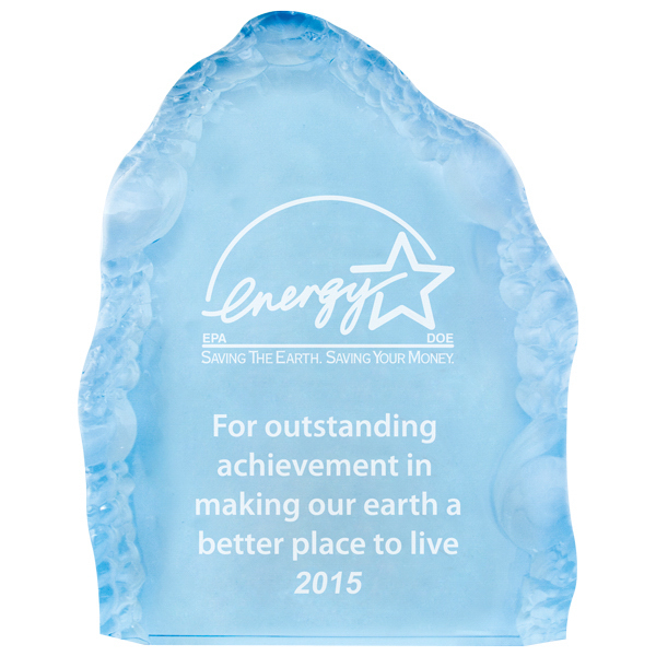 Imprinted Small acrylic blue iceberg award