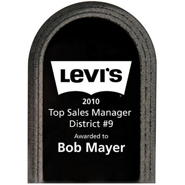 Personalized Arched stand-up stone edge plaque