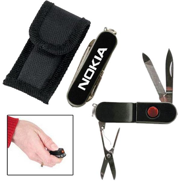 Imprinted Flashlight knife with belt sheath