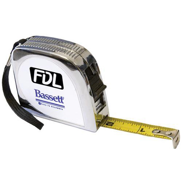 Customized 12-ft tape measure with lock