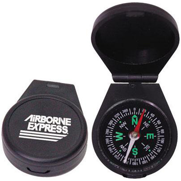 Printed Black plastic liquid-filled compass with cover