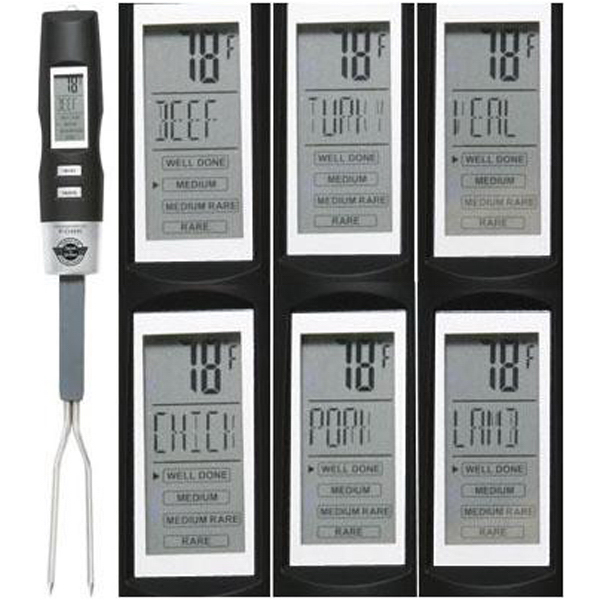 Printed Thermometer grilling fork with backlit LCD display
