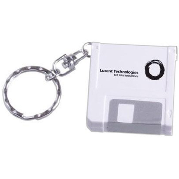 Imprinted Computer disk shaped tape measure keychain