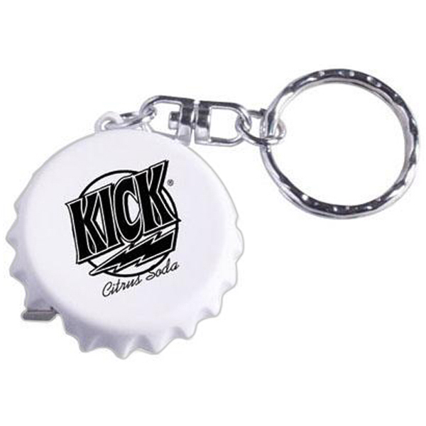 Customized Bottle cap-shaped tape measure key ring