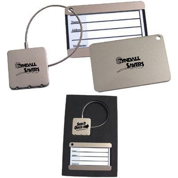 Printed Stainless steel luggage tag and lock gift set