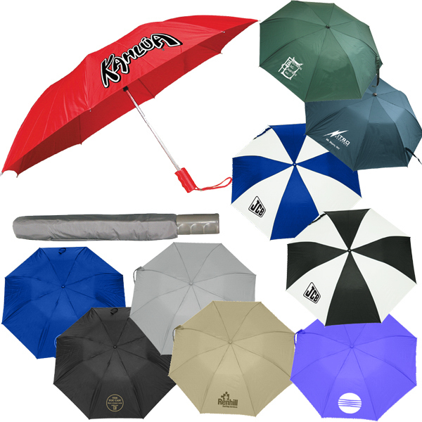 "Imprinted 43"" automatic opening nylon umbrella with case"